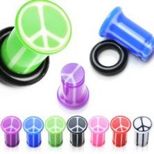 UV-vstavek za uho s simbolom za mir, marmoren z gumijastim obročkom