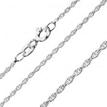 Srebrna verižica - elegantni zaviti obročki, 1,3 mm