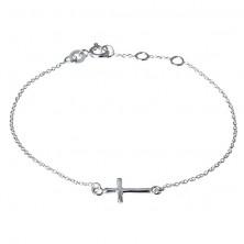 Srebrna zapestna verižica - bleščeč zaobljen križec