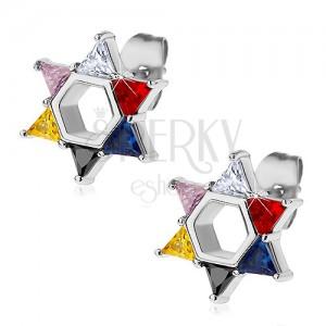 Jekleni uhani, Davidova zvezda iz barvnih cirkonov