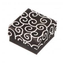 Majhna škatlica za uhane - črna z zavitim vzorcem