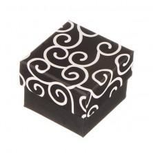 Škatlica za prstan - črna z belimi okraski