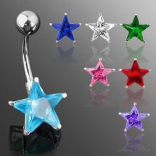 Uhan za popek s kamenčkom v obliki zvezde