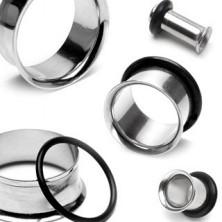 Piercing za uho - jeklen tunel z ukrivljenim robom in gumijastim obročkom