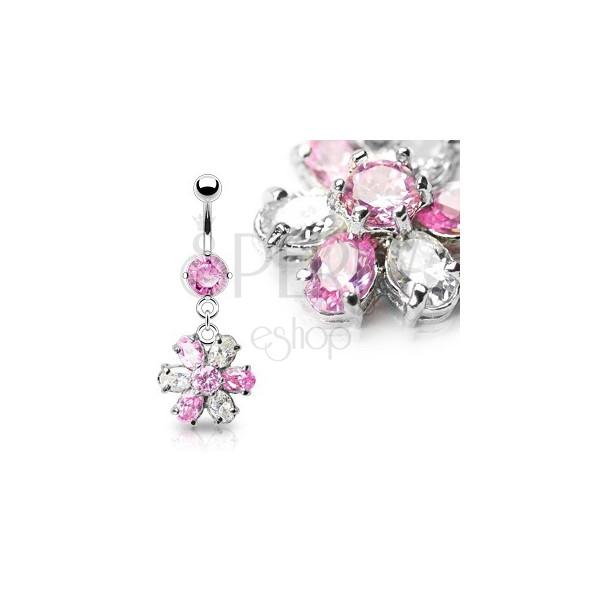 Razkošen cvetlični uhan za popek - roza in prozorni kamenčki