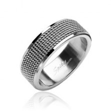 Mrežast prstan iz nerjavečega jekla z bleščečo obrobo