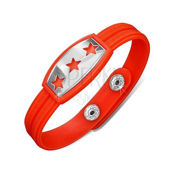 Gumijasta rdečeoranžna zapestnica, ploščica z zvezdami