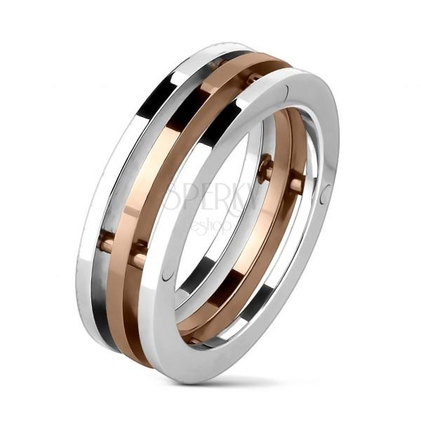 Trojni prstan iz nerjavečega jekla z zlatim srednjim delom