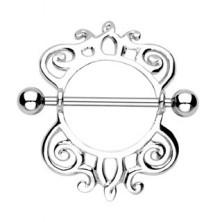 Piercing za bradavičke v obliki ščita s spiralastim okraskom - 2 kosa