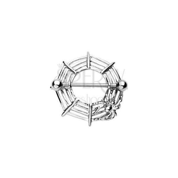 Piercing za bradavičko v obliki pajkove mreže s pajkom – 2 kosa