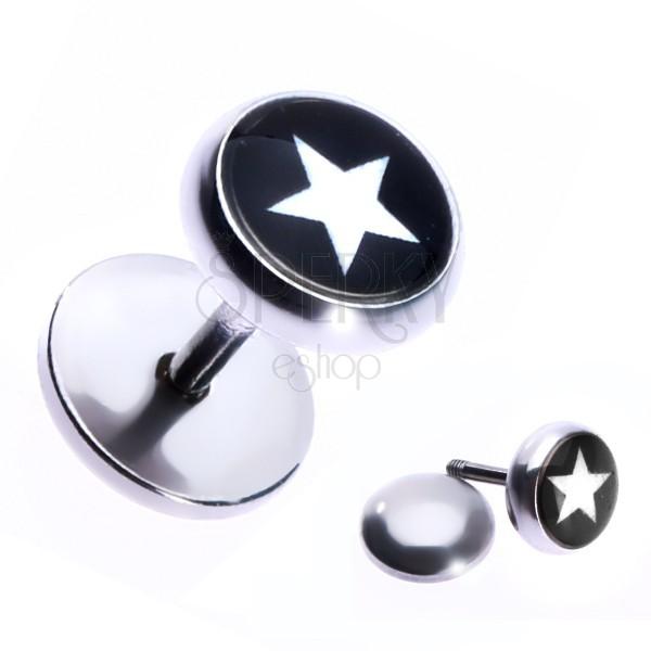 Imitacija piercinga iz nerjavečega jekla z zvezdo na črnem ozadju