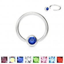 Piercing iz nerjavečega jekla - obroček z barvnim kristalom v okrogli objemki