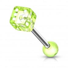 Jeklen piercing za jezik - igralna kocka z belimi pikami