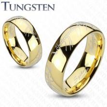 Prstan iz volframa v zlati barvi - motiv Gospodarja prstanov