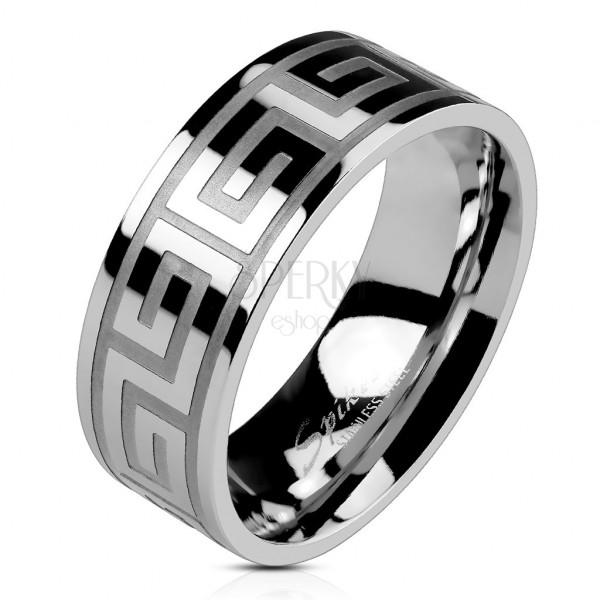 Poročni prstan iz jekla srebrne barve, sijoča površina, grški vzorec, 8 mm