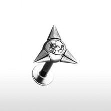 Podustnični piercing s tremi konicami in cirkonom