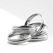 Bleščeč prstan iz nerjavečega jekla z zaobljeno srednjo linijo