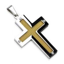 Križ iz nerjavečega jekla z zlato mrežico in zakovicami