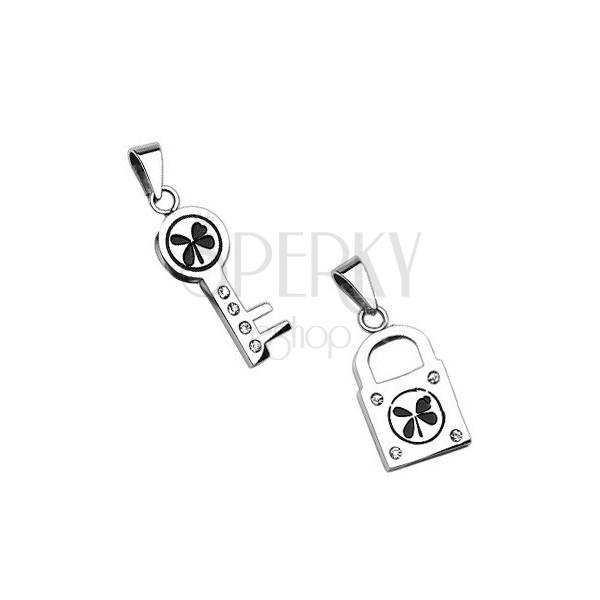 Obeski iz nerjavečega jekla - ključ in ključavnica s štiriperesno deteljico