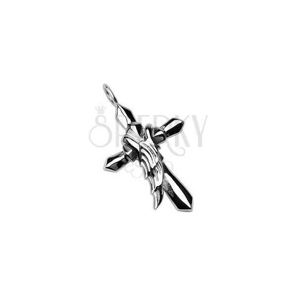 Obesek iz jekla v srebrni barvi - križ s krilom angela