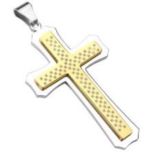 Masiven križ v zlato-srebrni kombinaciji z vzorcem šahovnice