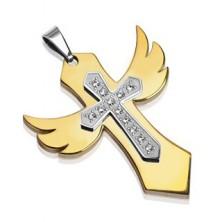 Zlat obesek iz nerjavečega jekla - križ s krili, kamenčki