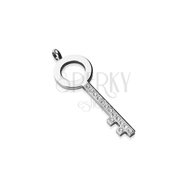Jeklen obesek - preprost ključ s kamenčki