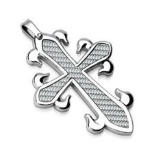 Obesek iz nerjavečega jekla - križ z vlaknastim vzorcem