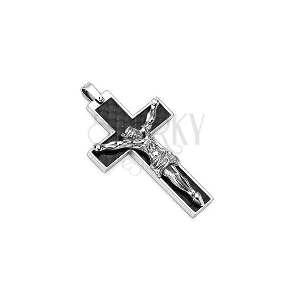 Obesek iz nerjavečega jekla - črn križ s srebrnim Jezusom