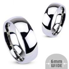 Kovinski prstan - zaobljen poročni prstan v sijoči srebrni barvi