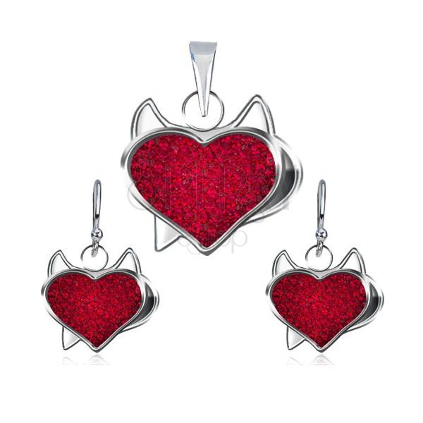Srebrn komplet obeska in uhanov - rdeče cirkonsko srce, hudiček