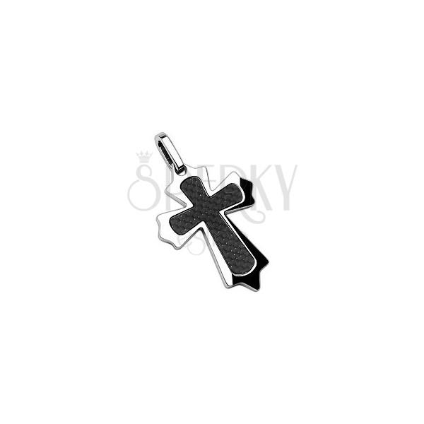 Obesek v obliki križa iz nerjavečega jekla z ogljikovimi vlakni in ostrimi robovi