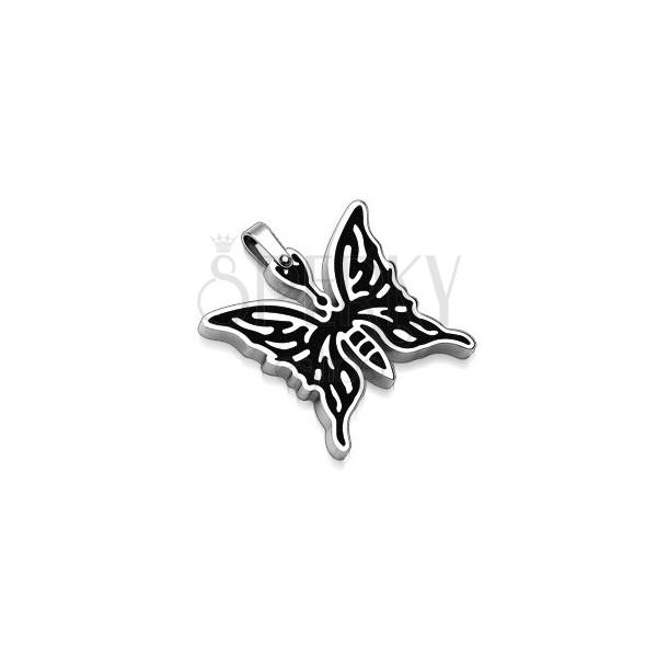 Metuljev obesek iz nerjavečega jekla - srebrn in črn