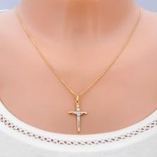 Obesek iz 585 zlata - srebrn Jezus na zlatem križu z izboklinami