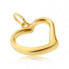 Zlat obesek 585 - sijoče srce z nepravilno linijo