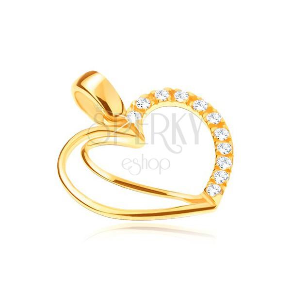 Zlat 14K obesek - srce z dvojnim obrisom in cirkoni