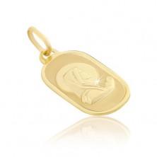 Obesek iz 14K zlata - Marija, ki moli, na ovalni ploščici