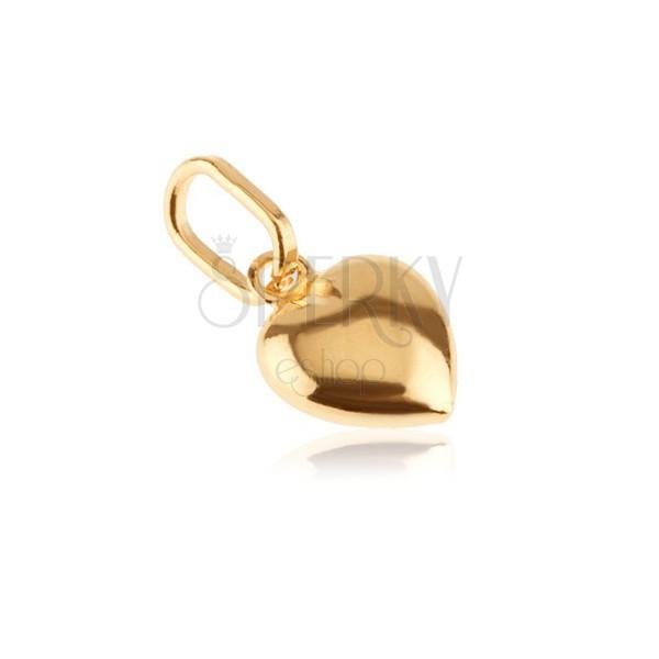 Obesek iz 14-k zlata - 3D-srce z bleščečo površino in zarezami