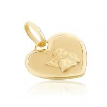 Obesek iz zlata 14K - srčasta ploščica z bleščečim angelom