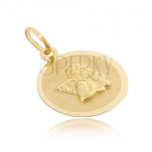 Zlat 14-karatni okrogli obesek - mat površina s 3D angelom