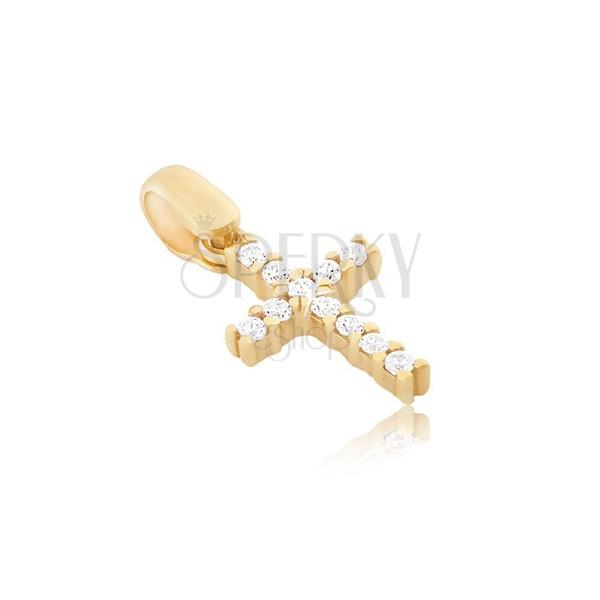 Obesek iz 14K zlata - majhen cirkonasti križ z objemkami