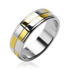 Jeklen obroček z zlatimi in srebrnimi bleščečimi pravokotniki