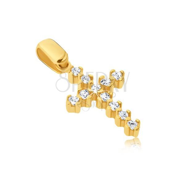 Obesek iz 14K zlata - bleščeč križ z izbočenimi objemkami