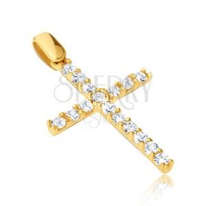 Obesek iz 14K zlata - velik križ s cirkoni in tankimi objemkami