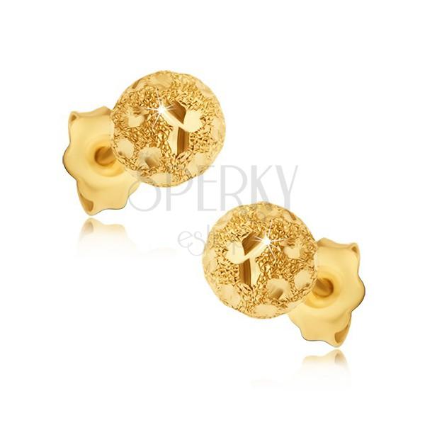 Uhani iz zlata 585 - peskaste kroglice z bleščečimi zrni