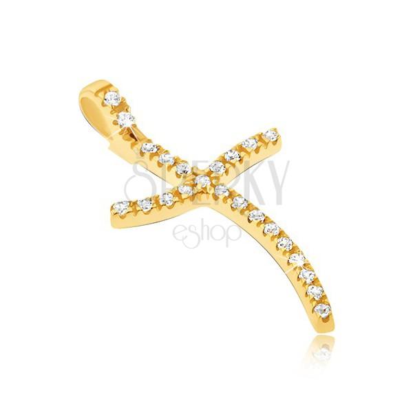 Zlat 585 obesek - tanek križ z valovitmi konci in cirkoni