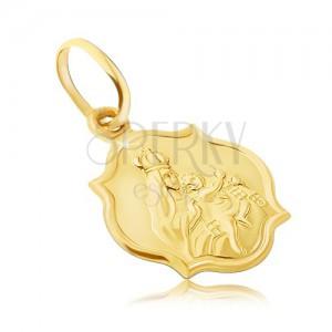 Zlat 585 obesek - dvostranska mat ploščica z Marijo in Kristusom