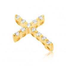 Zlat 14K obesek - tanek križ s cirkoni in skrito zaponko