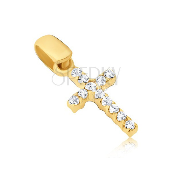 Obesek iz zlata - majhen križ s cirkoni na obeh straneh