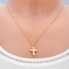Zlat obesek 14 karatov - debel, sijoč križ z zaobljenimi konicami